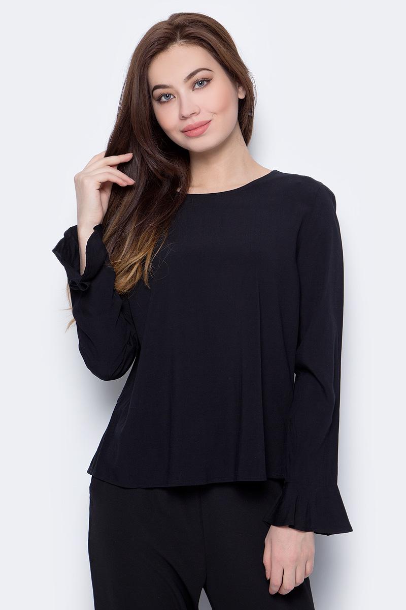 Блузка женская Only, цвет: черный. 15152665. Размер 34 (40)15152665Блузка от Only выполнена из 100% вискозы. Модель с длинными рукавами и круглым вырезом горловины на спинке застегивается на пуговицу. Блузка и рукава по низу расклешены.