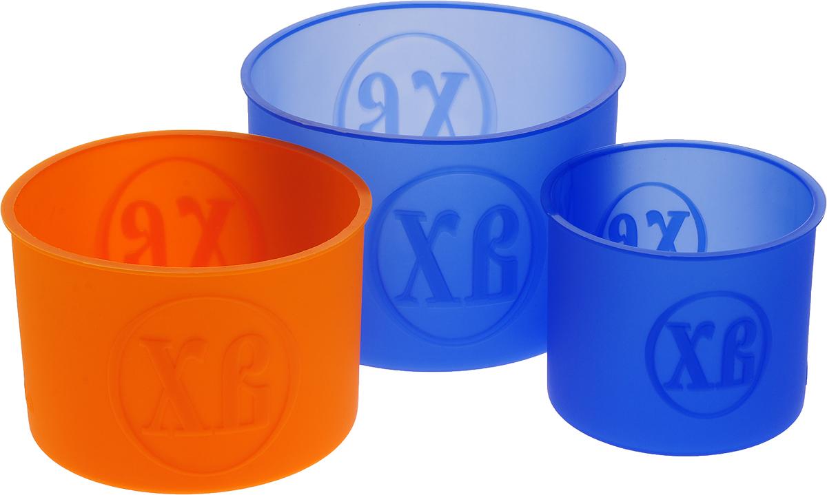 Набор форм для выпечки Доляна Куличики, цвет: синий, оранжевый, 15,5 х 13 х 10 см, 3 шт1057150_синий, оранжевыйНабор форм для выпечки Доляна Куличики, цвет: синий, оранжевый, 15,5 х 13 х 10 см, 3 шт