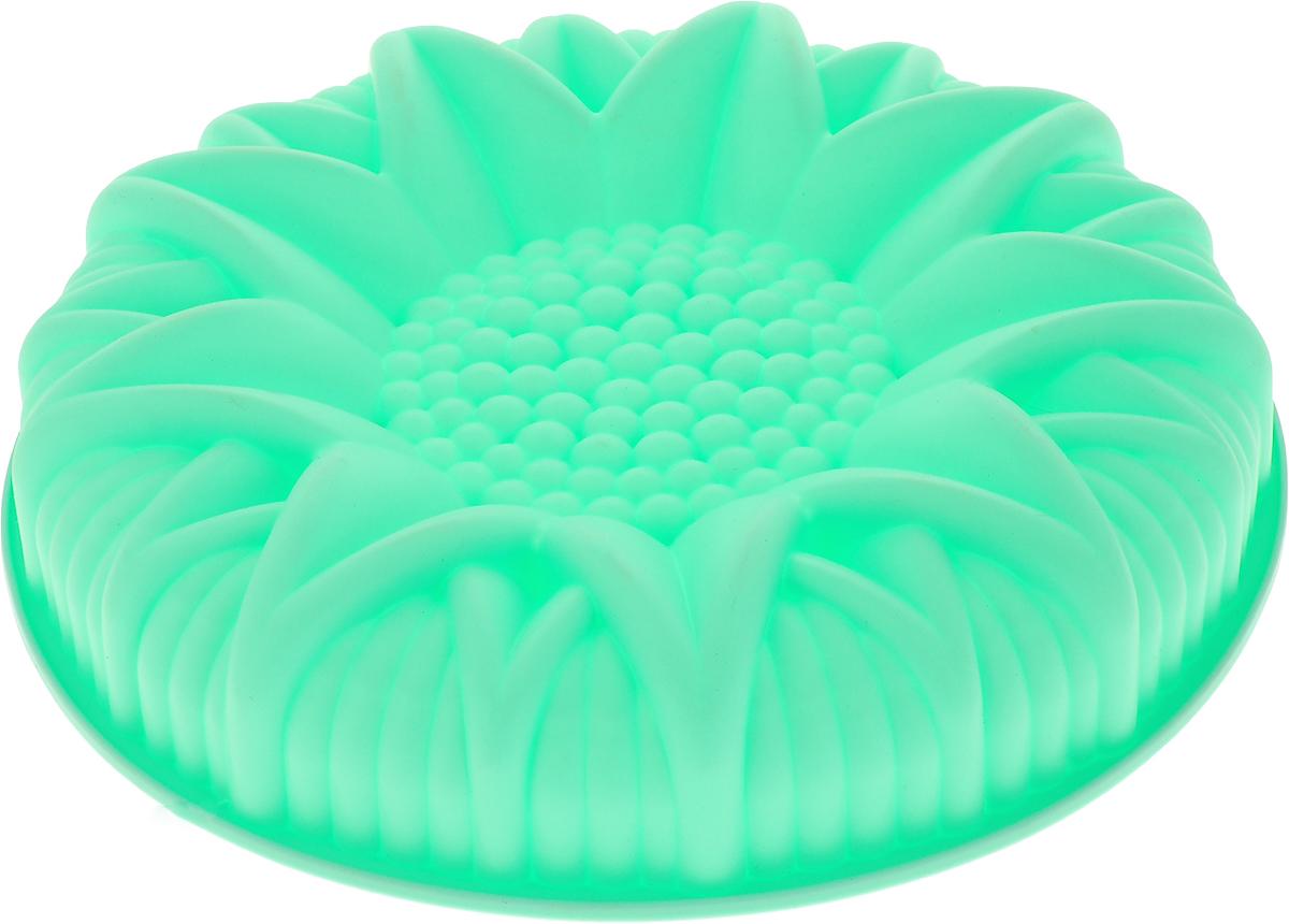 Форма для выпечки Доляна Подсолнух, цвет: мятный, 25 х 6 см1000382_мятный