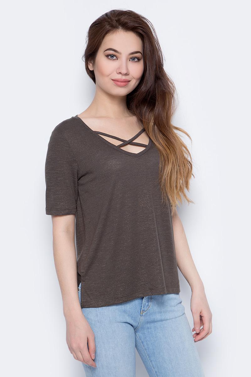 Блузка женская Only, цвет: серый. 15151006. Размер XL (52)15151006Блузка от Only выполнена из полиэстера с добавлением вискозы. Модель с короткими рукавами и V-образным вырезом горловины.