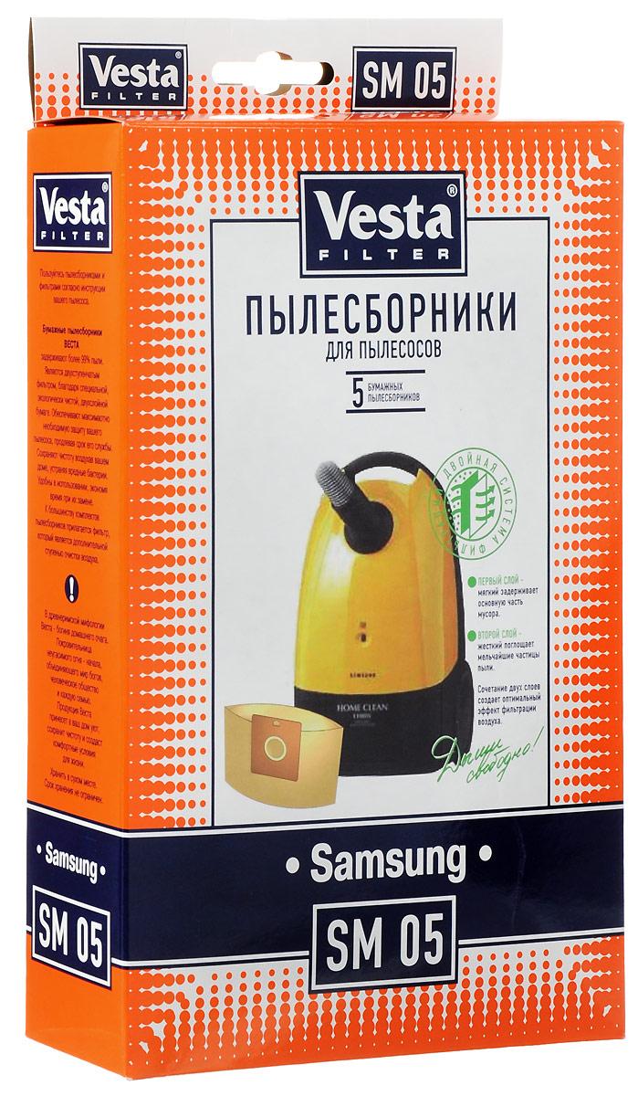 Vesta filter SM 05 комплект пылесборников, 5 шт40569Пылесборники бумажные (5 шт.) для пылесосов:Samsung: RC5500-5599, VC5000-VC5099,VC-900E, VC-1000E, … / Alaska : BS1400 / Karcher: TSC500, TSC505, TSC550, TSC555 / LG Electronics: (GoldStar:) V2600,V2620 / Rolsen: /…