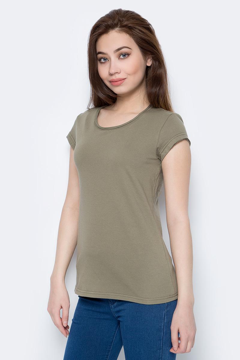 Футболка женская Sela, цвет: сероватый оливковый. Ts-111/338-8182. Размер XXS (40) футболка женская sela цвет белый ts 111 1227 7181 размер xxs 40