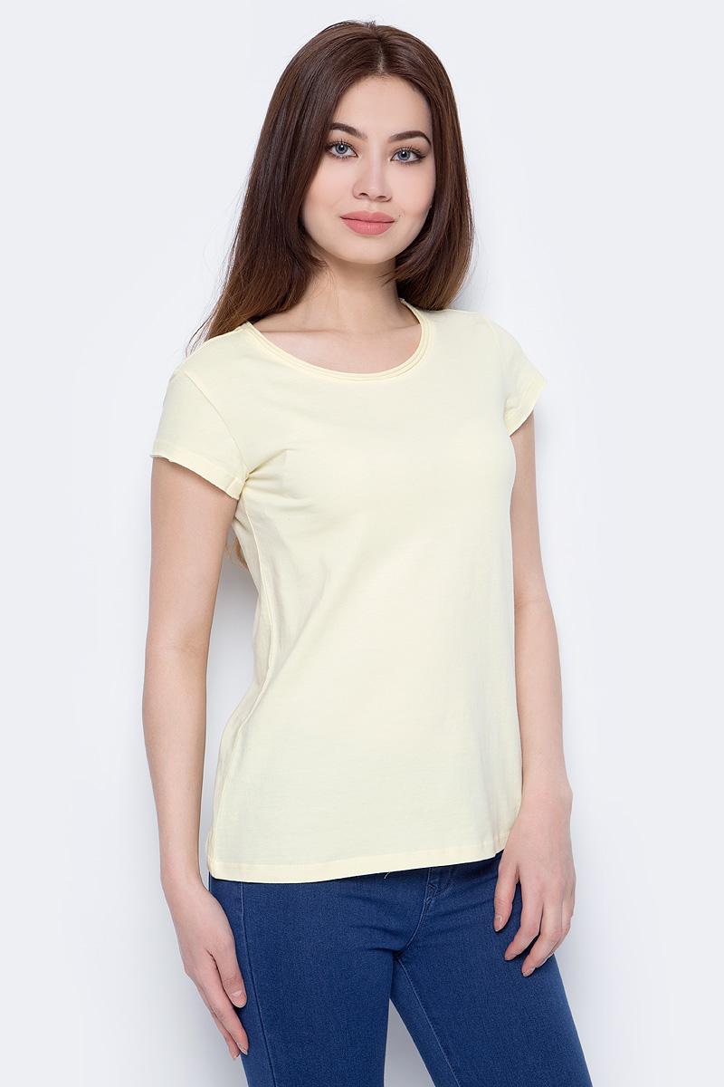 Футболка женская Sela, цвет: светло-желтый. Ts-111/338-8182. Размер XXS (40) футболка женская sela цвет белый ts 111 1227 7181 размер xxs 40