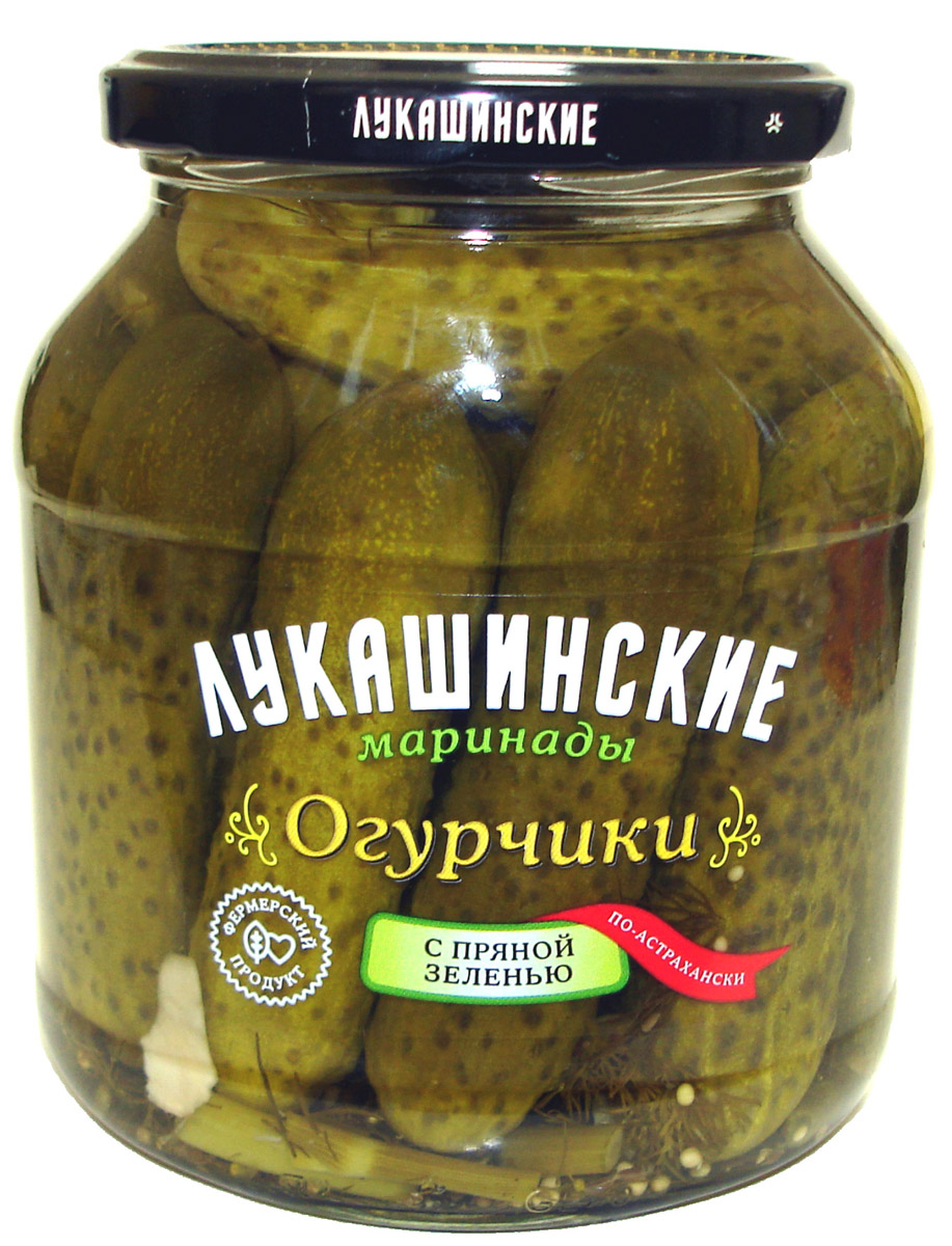 Лукашинские Огурчики по астрахански с пряной зеленью, 670 г лукашинские варенье персиковое 450 г
