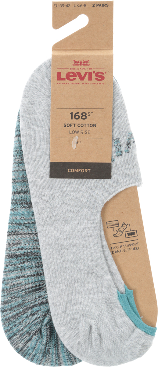 Носки мужские Levi's®, цвет: серый, зеленый, 2 пары. 3715900120. Размер 35 jd коллекция светло телесный 12 пар носков 15d две кости размер