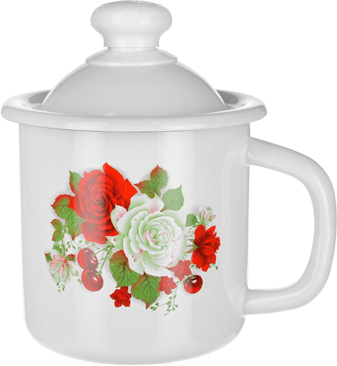 Кружка эмалированная Эмаль Розы и вишня, с крышкой, 1 л01-0207/4М_розы и вишняКружка эмалированная Эмаль Розы и вишня, с крышкой, 1 л
