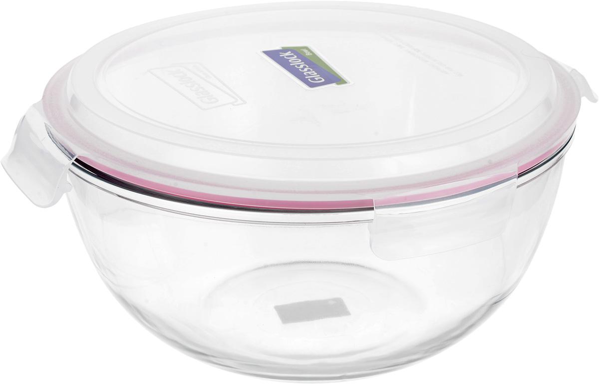 Контейнер стеклянный Glasslock, круглый, с крышкой, цвет: прозрачный, розовый, 6 лMBCB-600_прозрачный, розовыйКонтейнер стеклянный Glasslock, круглый, с крышкой, цвет: прозрачный, розовый, 6 л