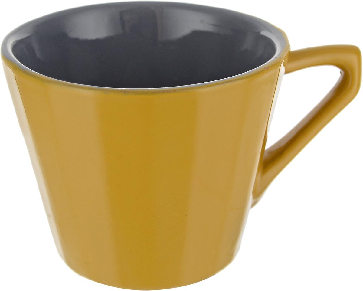 Чашка чайная Борисовская керамика Ностальгия, цвет: горчичный, серый, 200 мл чашка чайная борисовская керамика пион цвет оранжевый 300 мл
