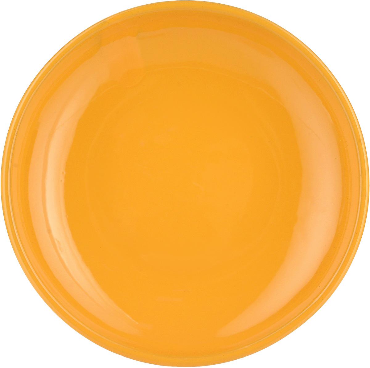 """Блюдце Борисовская керамика """"Радуга"""", цвет: желтый, диаметр 10 см"""