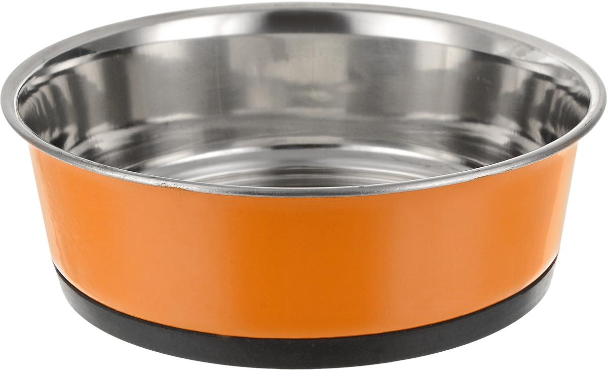 Миска для животных Уют, утяжеленная, цвет: оранжевый, 940 млАМц094_оранжевыйМиска для животных Уют, утяжеленная, цвет: оранжевый, 940 мл