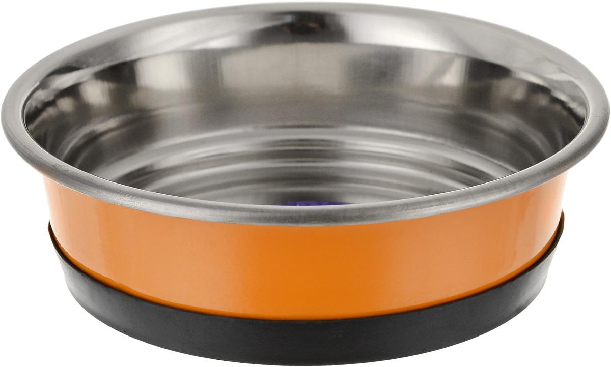 Миска для животных Уют, утяжеленная, цвет: оранжевый, 300 мл миска для животных vanness цвет горчичный 236 мл