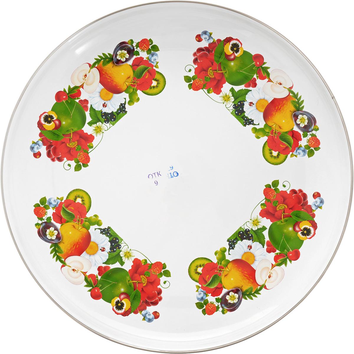 Блюдо Лысьвенские эмали Яблоки, цветы, диаметр 36 смС-0811А/5_яблоки, цветыБлюдо Лысьвенские эмали Яблоки, цветы, диаметр 36 см