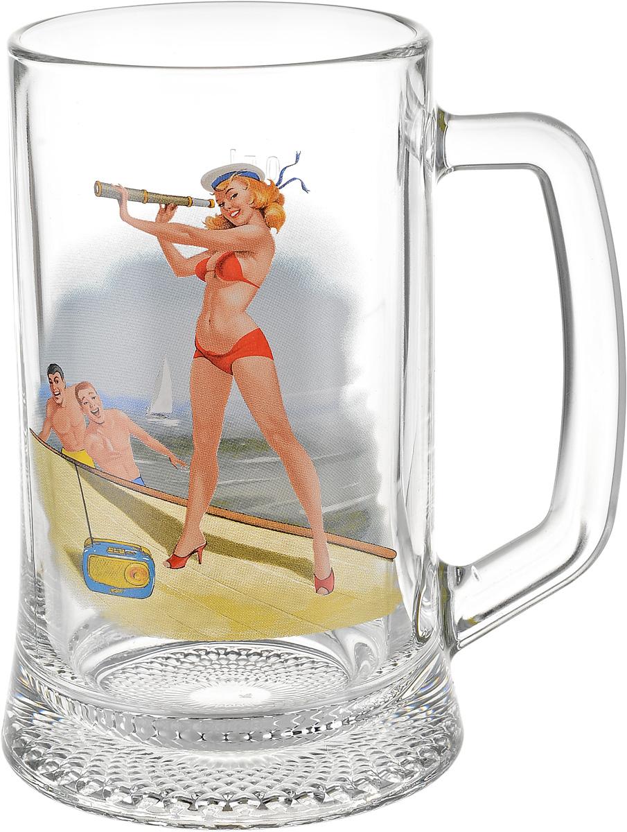 Кружка для пива Декостек Пин-ап. Рисунок 2, 500 мл