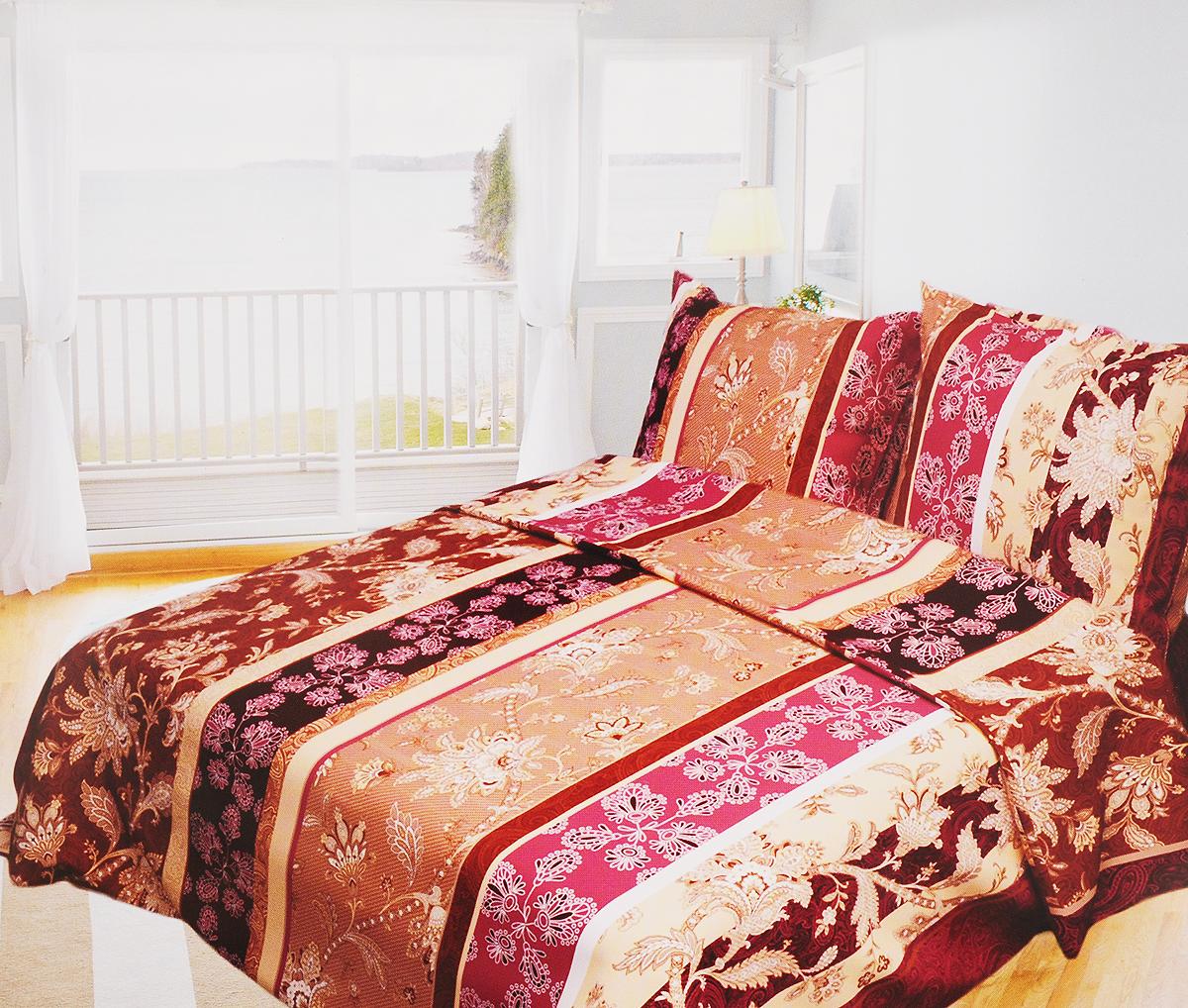 Комплект белья Олеся Мавританский ажур, 1,5-спальный, наволочки 70х70, цвет: бежево-бордовый олеся мовсина про контра и цетера