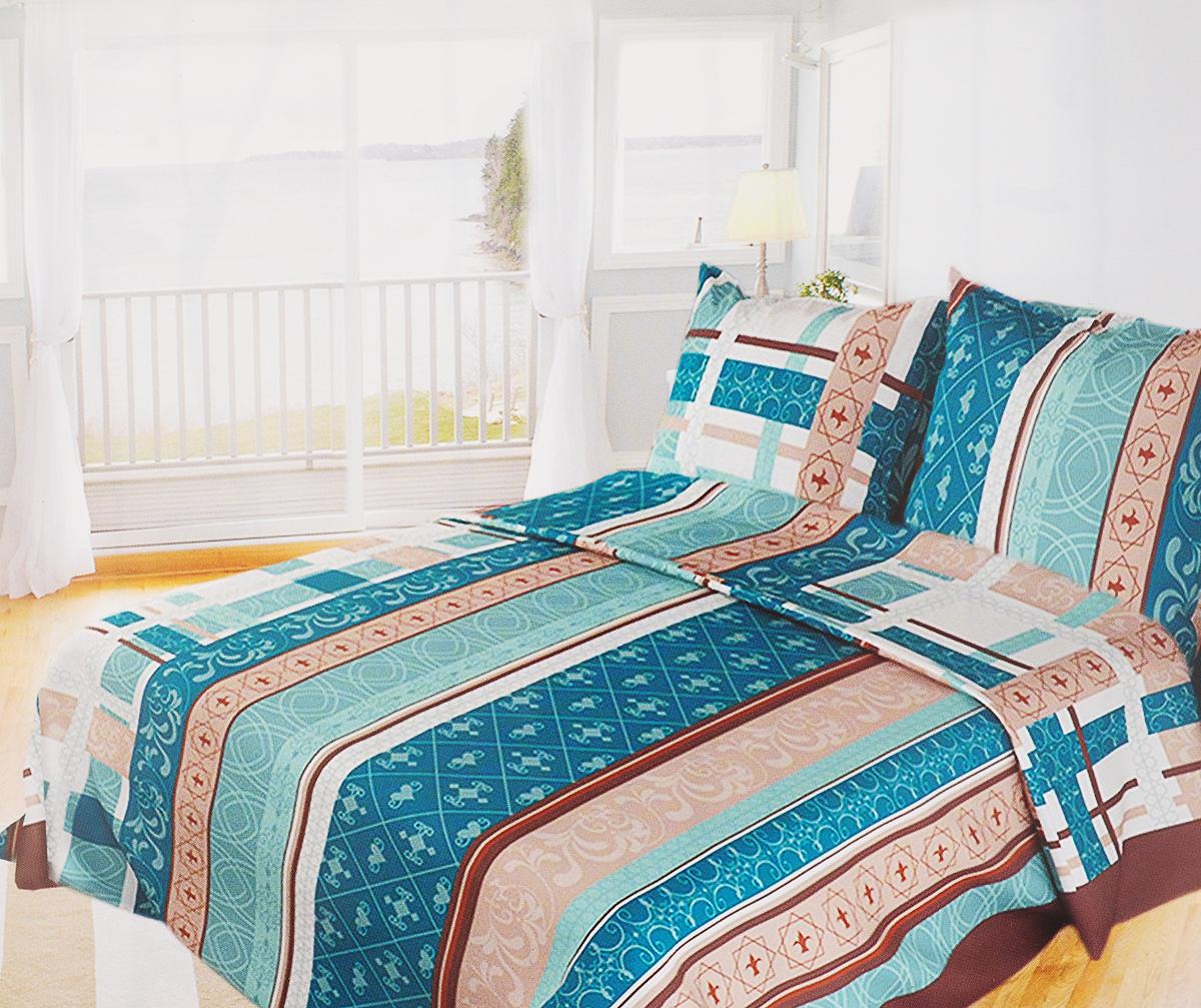 Комплект белья Олеся Летний аккорд, 1,5-спальный, наволочки 70х70, цвет: бирюзовый олеся мовсина про контра и цетера