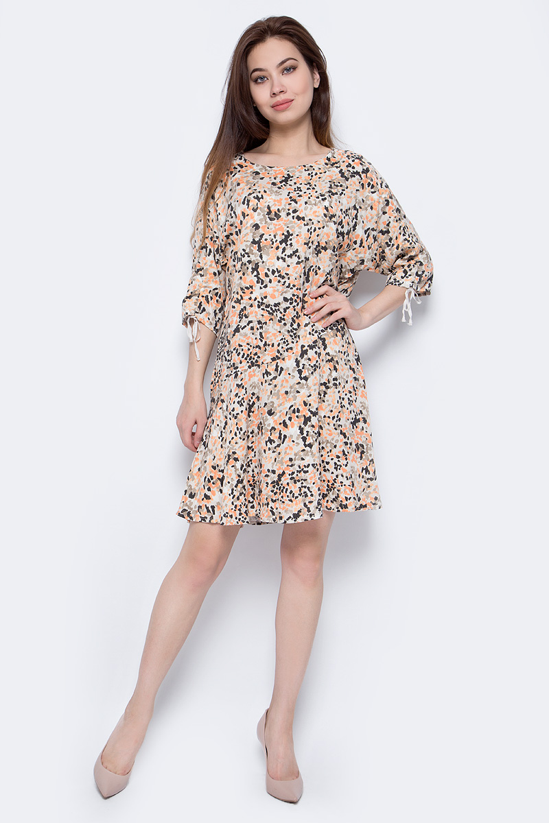 Платье женское Sela, цвет: пепельно-бежевый. Ds-117/1065-8243. Размер 48Ds-117/1065-8243