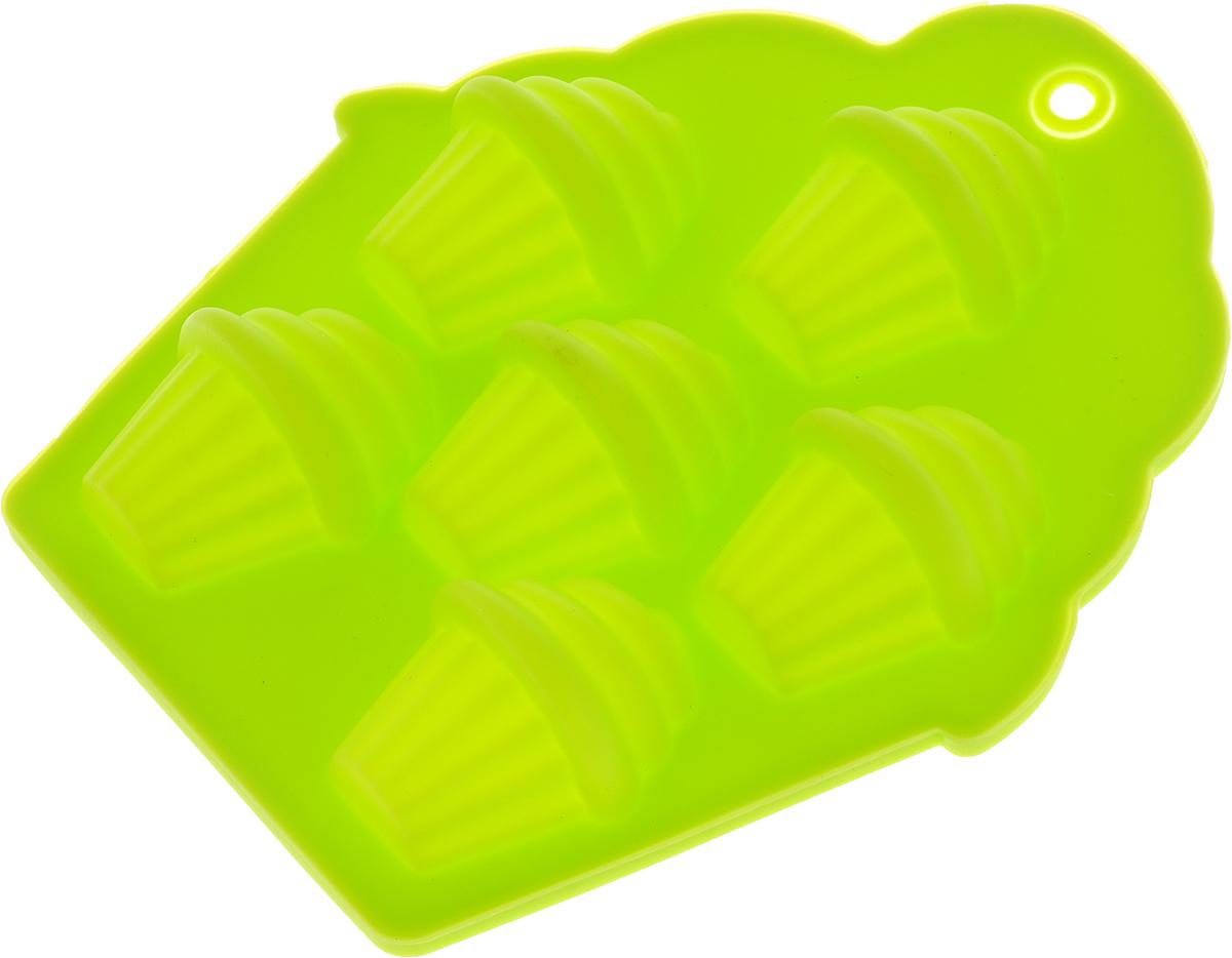 Форма для льда и шоколада Доляна Пирожные, 6 ячеек, цвет: салатовый, 13,5 х 11,5 х 2,5 см1687514_салатовыйФорма для льда и шоколада Доляна Пирожные, 6 ячеек, цвет: салатовый, 13,5 х 11,5 х 2,5 см