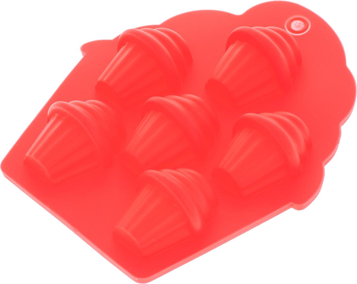 """Форма для льда и шоколада Доляна """"Пирожные"""", 6 ячеек, цвет: красный, 13,5 х 11,5 х 2,5 см"""