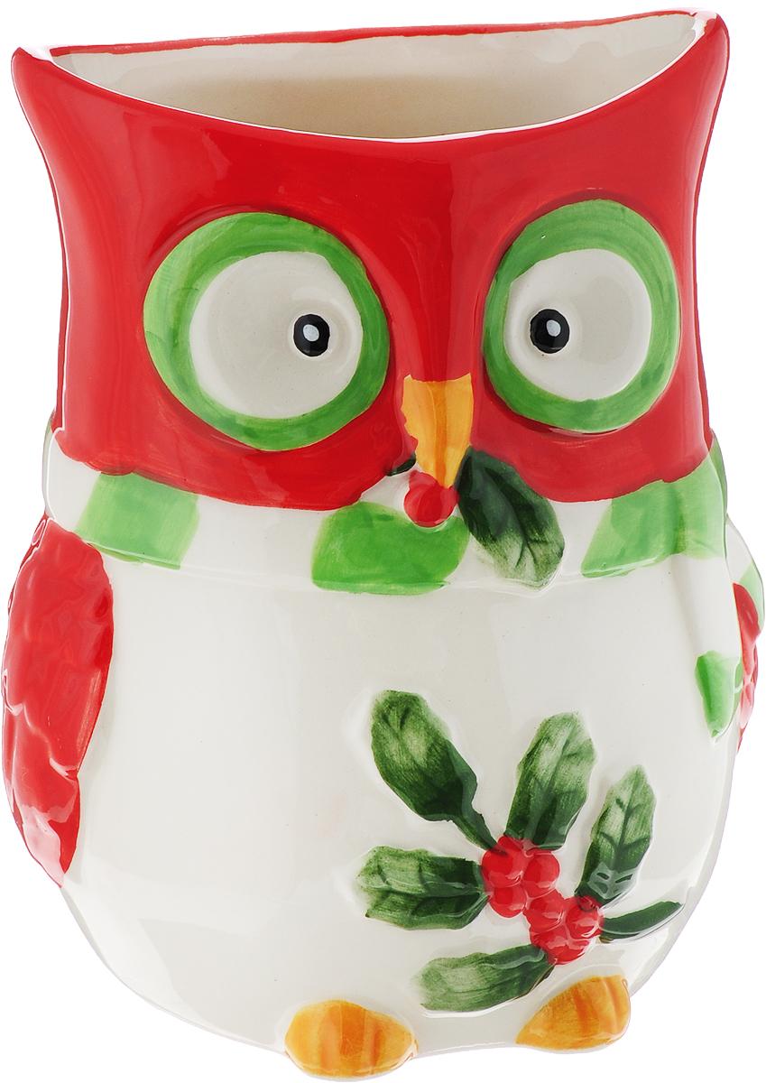 Ваза House & Holder Сова, цвет: красный, белый, высота 13 см ваза прямая цвет красный 51 см 2176628
