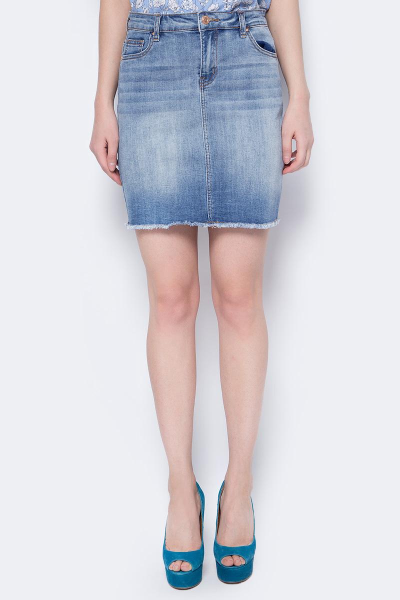 Юбка женская Sela, цвет: голубой джинс. SKJ-338/855-8213. Размер 46SKJ-338/855-8213