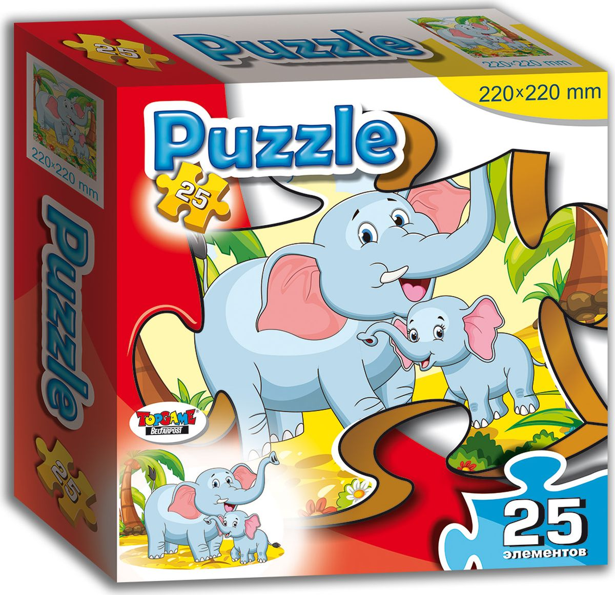 TopGame Пазл для малышей Слон и слоненок пазлы origami пазл дм зайчик и волчонок 25 элементов