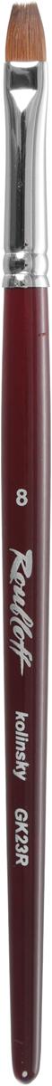 Roubloff Кисть GK2 колонок плоская № 8GK2-08,0RNПрофессиональная кисть для гелевого моделирования ногтей на короткой красной фигурной ручке. Изготовлена из 100% волоса колонка высшего качества. Кисть более мягкая, чем из волоса синтетики, но в тоже время упругая. Предназначена специально для гелевого н