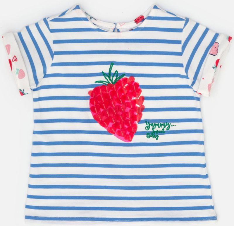 Блузка для девочки Maloo by Acoola Raduga, цвет: белый, голубой. 22250110011_8000. Размер 68