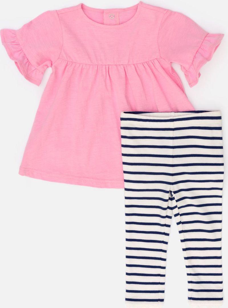 Комплект одежды для девочки Maloo by Acoola Milena: футболка, леггинсы, цвет: розовый, белый, темно-синий. 22254180014_8000. Размер 80 платье overmoon by acoola overmoon by acoola ov003eguci55