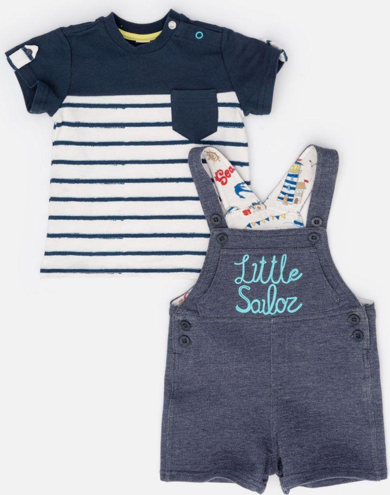 Комплект одежды для мальчика Maloo by Acoola Viskie: футболка, полукомбинезон, цвет: темно-синий, белый, серый. 22154180003_8000. Размер 74