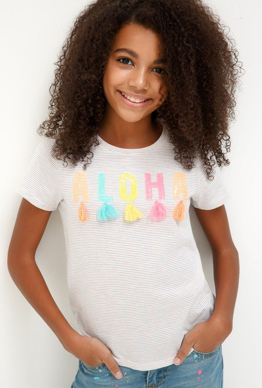 Футболка для девочки Acoola Fras, цвет: белый. 20210110139_4400. Размер 158 джемперы acoola джемпер для девочек в полоску из люрекса цвет ассорти размер 158 20210100174