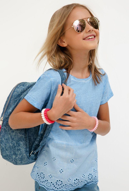 Футболка для девочки Acoola Grande, цвет: синий. 20210110137_500. Размер 158 джемперы acoola джемпер для девочек в полоску из люрекса цвет ассорти размер 158 20210100174