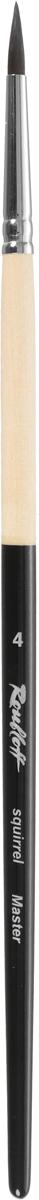 Roubloff Кисть 341M белка круглая № 4ЖБ1-04,0МБКисть круглая из хвостового волоса белки, обойма медная, хромированная, ручка запатентованная по окрасу. Номера 0-3 используются для создания тонких линий и мелких деталей, 4-6 для нанесения фона и больших деталей. Данная серия кистей разработана для икон