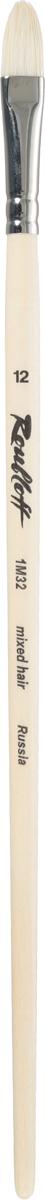 Roubloff Кисть 1M32 синтетика и щетина овальная № 12 длинная ручкаЖМ3-12,02БКисть овальная, жесткая из смеси щетины и синтетики на длинной лакированной деревянной ручке с хромированной обоймой серебряного цвета.