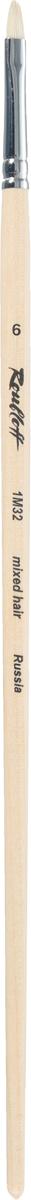 Roubloff Кисть 1M32 синтетика и щетина овальная № 6 длинная ручкаЖМ3-06,02БКисть овальная, жесткая из смеси щетины и синтетики на длинной лакированной деревянной ручке с хромированной обоймой серебряного цвета.