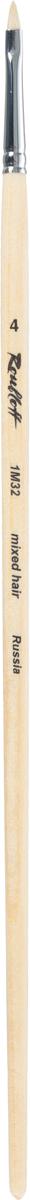 Roubloff Кисть 1M32 синтетика и щетина овальная № 4 длинная ручкаЖМ3-04,02БКисть овальная, жесткая из смеси щетины и синтетики на длинной лакированной деревянной ручке с хромированной обоймой серебряного цвета.