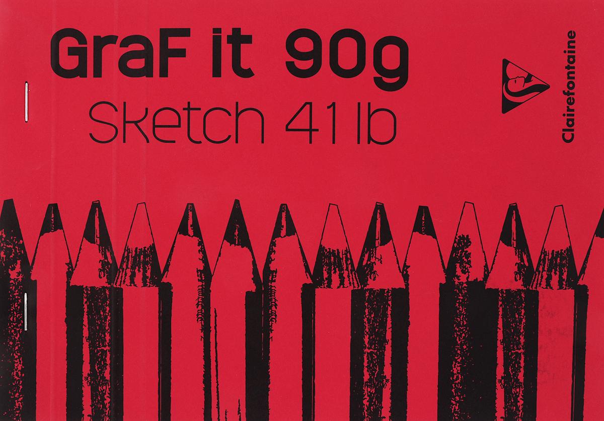 Блокнот Clairefontaine Graf It, для сухих техник, с перфорацией, цвет: красный, формат A5, 80 листов блокнот clairefontaine rhodia точки формат a6 цвет обложки оранжевый 96 листов