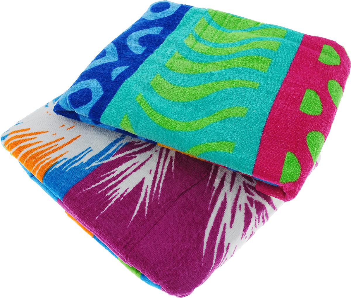 Набор пляжных полотенец  Bonita , цвет: розовый, синий, зеленый, 75 х 150 см, 2 шт -  Полотенца