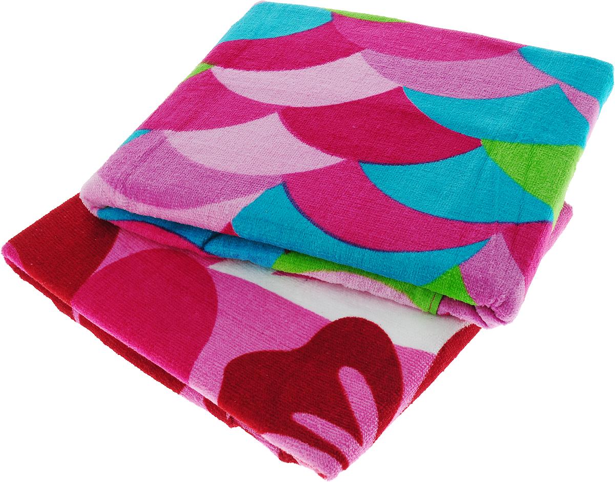 Набор пляжных полотенец  Bonita ,цвет: розовый, бирюзовый, 75 х 150 см, 2 шт -  Полотенца