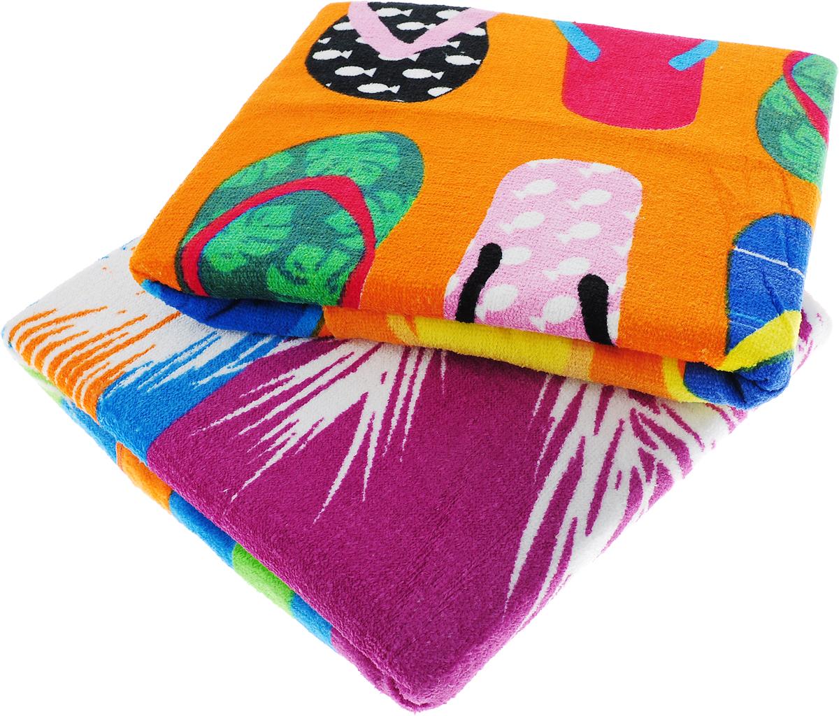 Набор пляжных полотенец Bonita, цвет: оранжевый, розовый, 75 х 150 см, 2 шт набор полотенец 2 шт fiesta textile цвет розовый