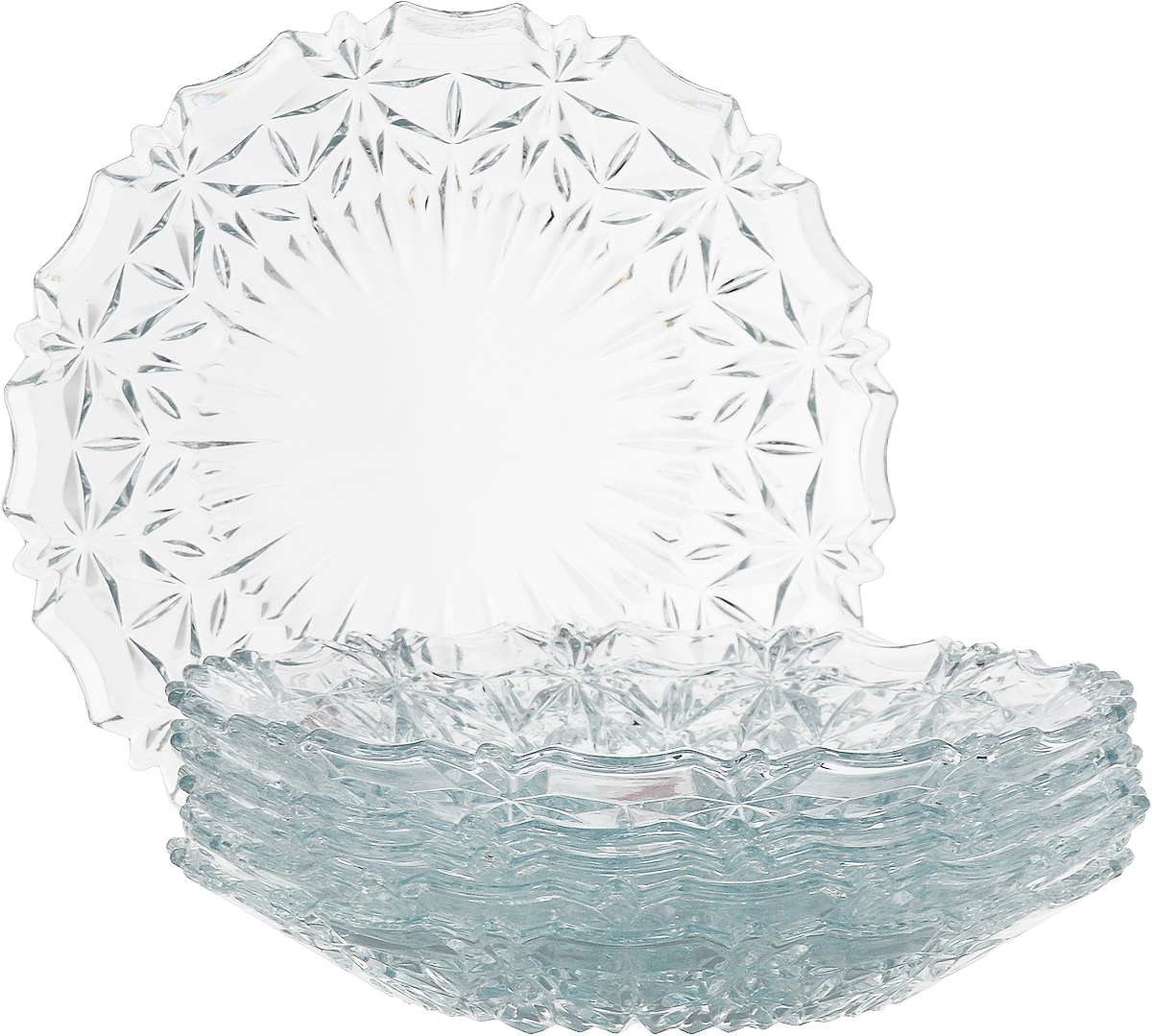 Набор из 6-ти тарелок высококачественного стекла, имеет изысканный внешний вид. Такая тарелка прекрасно подходит как для торжественных случаев, так и для повседневного использования.  Идеальна для подачи десертов, пирожных, тортов и многого другого. Она прекрасно оформит стол и станет отличным дополнением к вашей коллекции кухонной посуды.