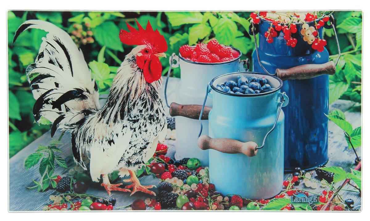 Доска разделочная Larange Петух с ягодами, цвет: разноцветный, 35 х 20 х 0,4 см1721621Разделочная доска из ударопрочного стекла — замечательный подарок для хозяйки. Благодаря яркому дизайну аксессуар станет украшением кухни, а качественный материал делает его практичным инструментом на долгие годы.Чем ещё хороша эта доска?Имеет противоскользящие резиновые ножки.Устойчива к механическим повреждениям и царапинам.Отлично подходит для раскатывания теста.Не впитывает запахи и жидкости.Толщина изделия — 4 мм.Рекомендуется ручная мойка. Избегайте использования абразивных моющих средств.