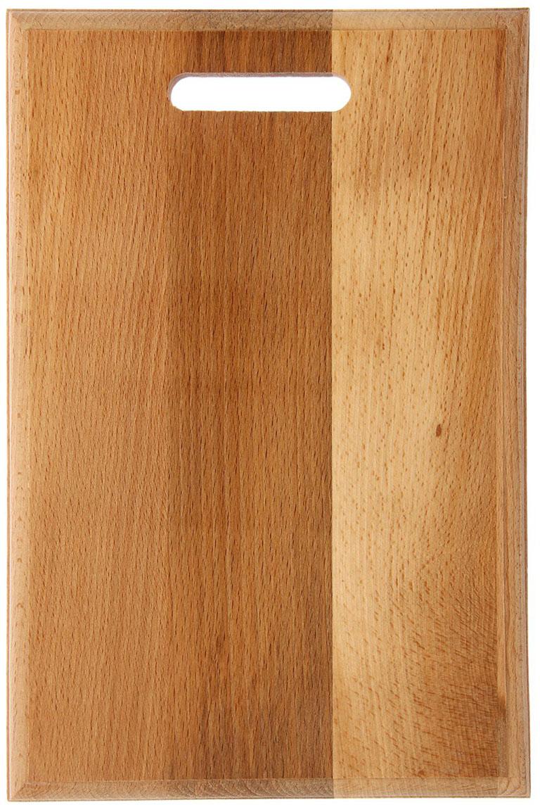 Доска разделочная, цвет: коричневый, 34 х 23 х 1,8 см1801062Посуда из бука пользуется популярностью уже многие столетия. Доска для нарезки выполнена в традиционном стиле и придётся по вкусу ценителю классического дизайна.Достоинства:безопасный материал;специальное отверстие для удобного хранения;благодаря масляной пропитке изделие отличается долговечностью;вы сможете задействовать обе стороны предмета.После каждой мойки рекомендуется насухо вытирать поверхность доски.