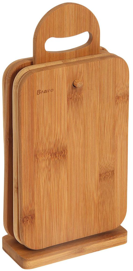 Доска разделочная Bravo, цвет: коричневый, 32 х 15 х 7 см, 4 шт
