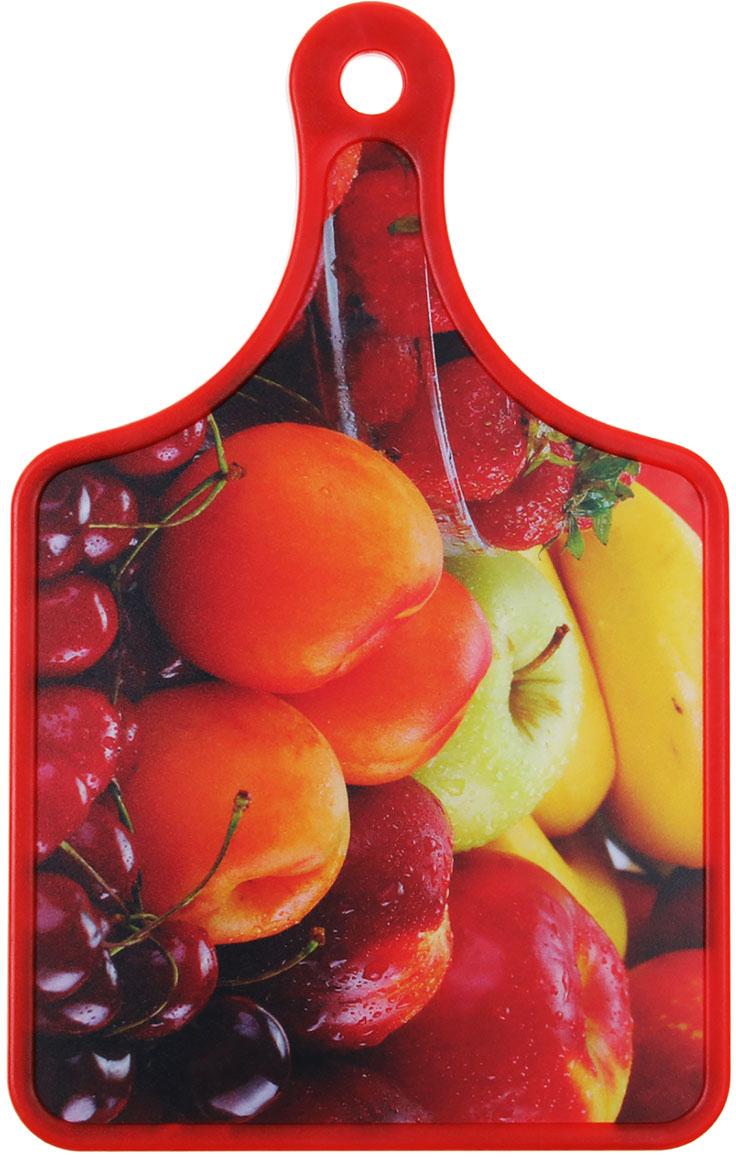 Доска разделочная Доляна Сочные фрукты, цвет: красный, 19 х 30 х 0 см