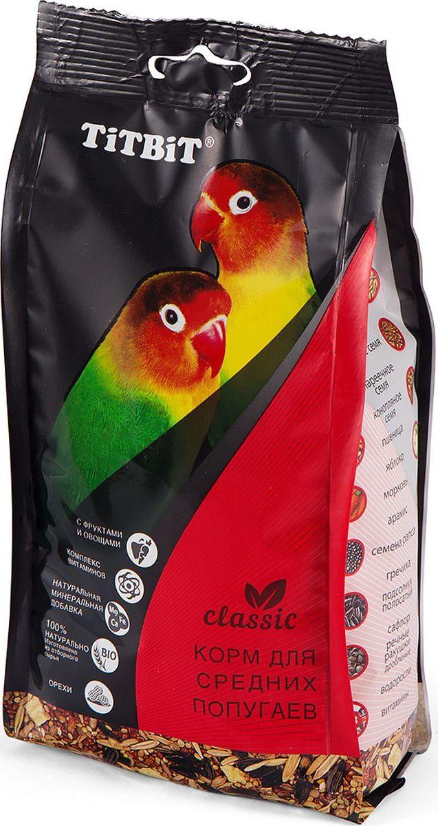Корм Titbit Classic, для средних попугаев, 0,5 кг корм вака люкс для попугаев для мелких и средних 1 кг