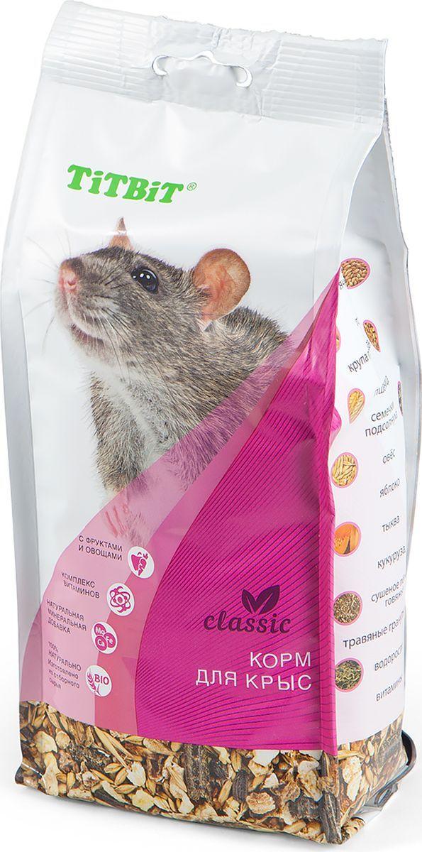Корм Titbit Classic, для крыс, 0,5 кг6962TiTBiT корм для крыс Classic – это полнорационная, сбалансированная смесь для ежедневного употребления. Изготовлена из высококачественного сырья. Содержит все необходимые витамины, микро- и макроэлементы.