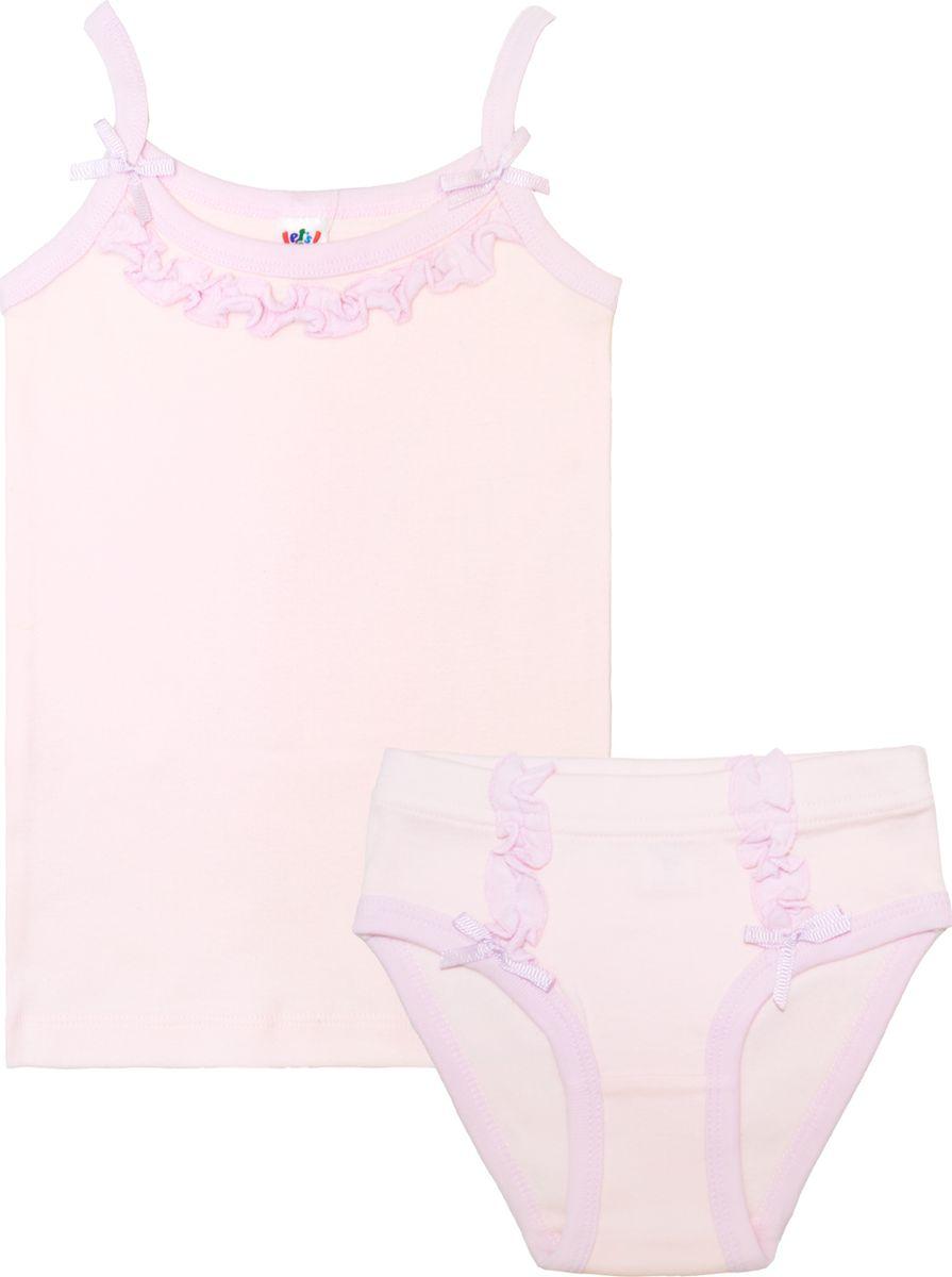 Комплект для девочки Let's Go: майка, трусы, цвет: светло-розовый. 3161. Размер 98/104 майки