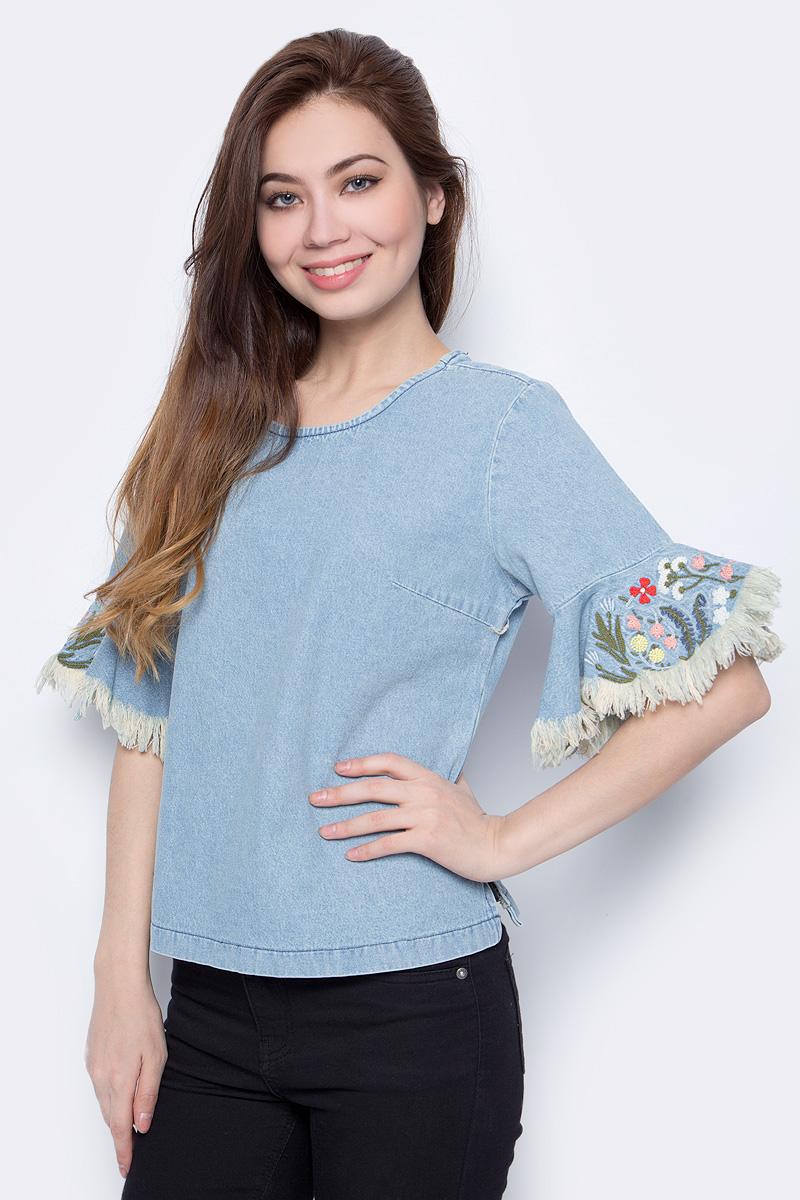 Блузка женская adL, цвет: светло-синий. 11534115000_003. Размер L (46/48)11534115000_003Стильная женская блузка adL, выполненная из хлопка, подчеркнет ваш уникальный стиль и поможет создать оригинальный образ. Такой материал великолепно пропускает воздух, обеспечивая необходимую вентиляцию, а также обладает высокой гигроскопичностью. Блузка с рукавами длиной 3/4 и круглым вырезом горловины. Рукава оформлены цветочной вышивкой. Такая блузка будет дарить вам комфорт в течение всего дня и послужит замечательным дополнением к вашему гардеробу.