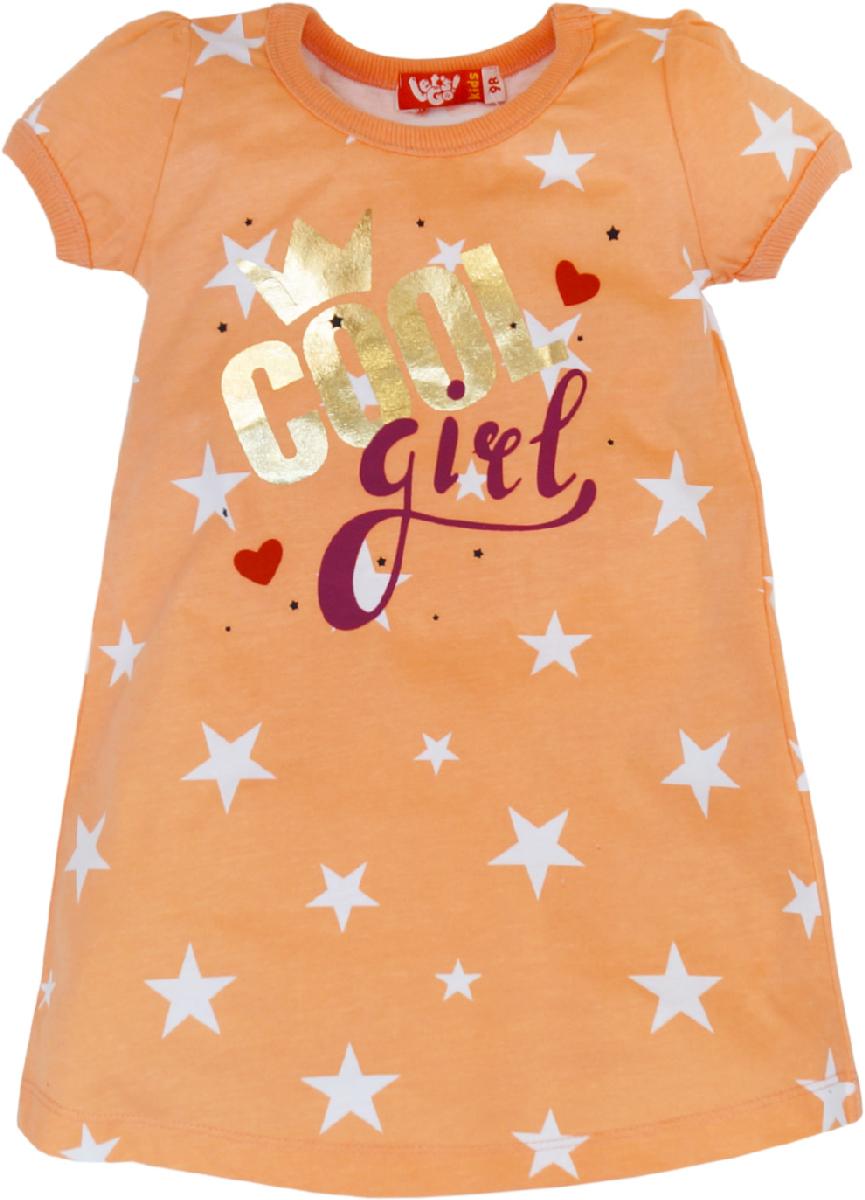 Ночная рубашка для девочки Let's Go, цвет: коралловый. 9155. Размер 98 рубашка million x для девочки цвет бежевый