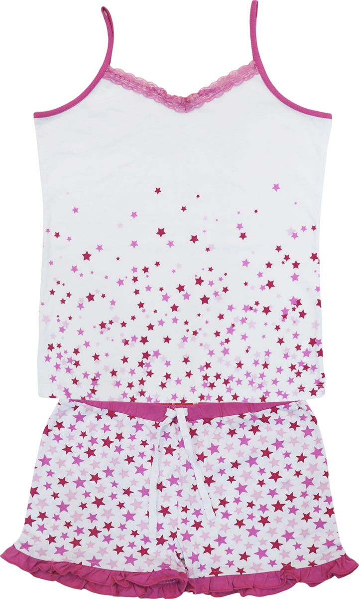 Пижама для девочки Lets Go, цвет: белый, розовый. 9156. Размер 1589156Пижама для девочки Lets Go, состоящая из майки и шорт, выполнена из натурального хлопка. Материал необычайно мягкий и приятный на ощупь, не сковывает движения и позволяет коже дышать. Майка на тонких бретельках спереди оформлена принтовым рисунком и отделана кружевом. Шорты на талии дополнены эластичной резинкой и регулируемым шнурком. В такой пижаме ваша девочка будет чувствовать себя комфортно и уютно.